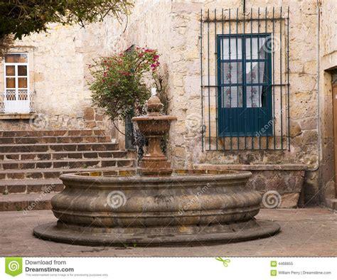 small courtyard plaza fountain morelia mexico stock image image  mexican water