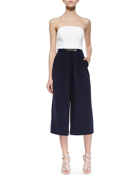 strapless jumpsuit ted baker haylyn strapless culotte jumpsuit in black lyst