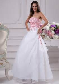 white wedding dress white wedding dress with pink accents sang maestro