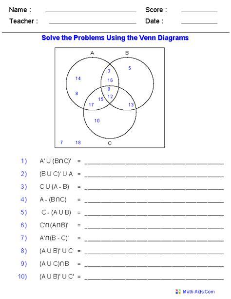 venn diagram worksheets set notation problems using