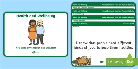 * New * Cfe Early Level Health And Wellbeing Experience And Outcomes Display