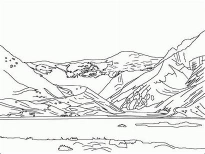 Coloring Mountain Mountains Pages Landscape Scenery Lake