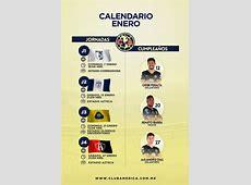 Calendario Enero 2018 Club América Sitio Oficial