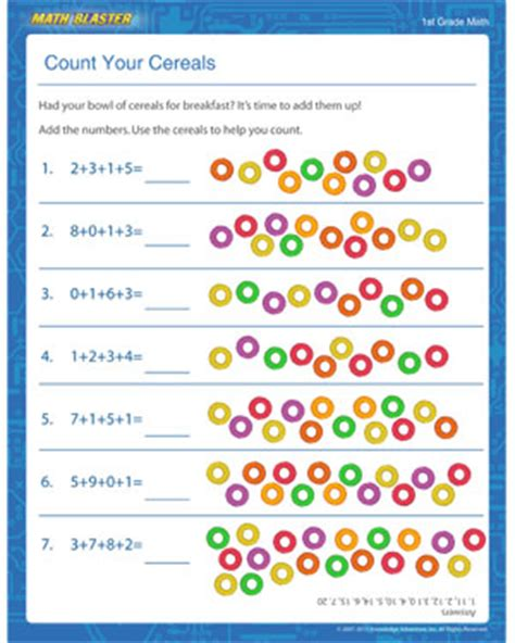 count your cereals printable addition worksheet for elementary grade 1 math addition