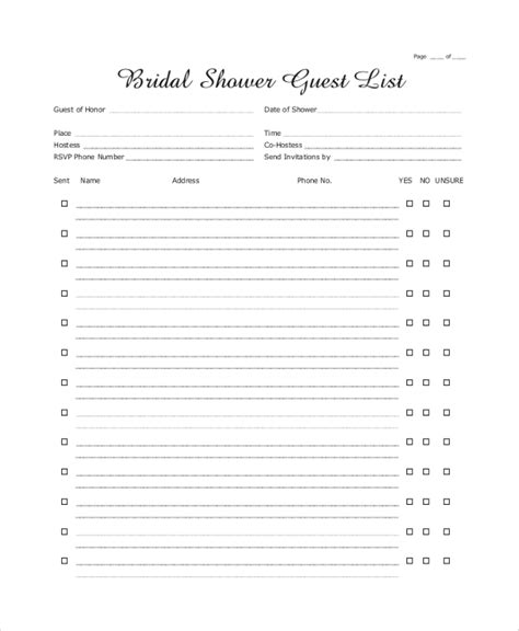 sample wedding guest lists   ms word excel