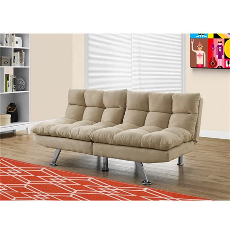 Ivah Click Clack Sofa Bed In Light Taupe With Soft