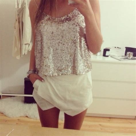 Blouse sparkle shorts white skirt outfit top glitter party spaghetti strap - Wheretoget