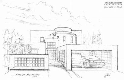 Mansion Drawing Drawings Modern Architecture Mansions Simple