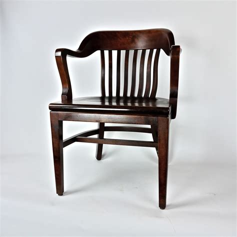 antique post war wooden office library chair
