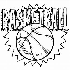 Free Coloring Sheet Of Basketball For Kindergarten
