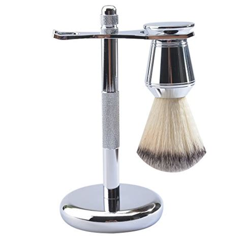 csb synthetic shaving brush stand set chrome metal grooming shaving