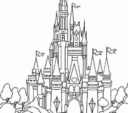 Castle Disney Drawing Line Cinderella Coloring Pages