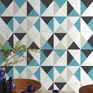 Papier peint intissé Polygone bleu Leroy Merlin