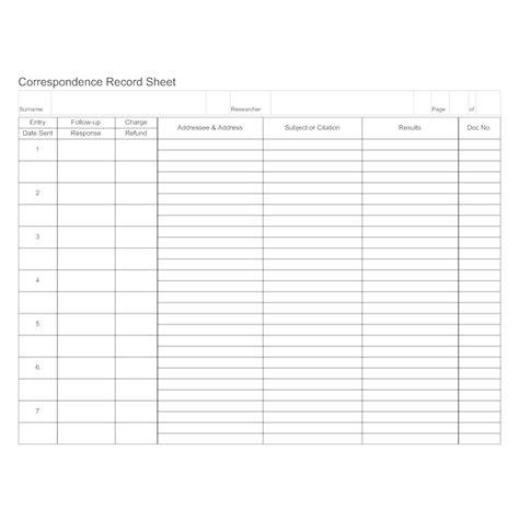 Correspondence Record Sheet