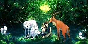 Ashitaka And San With Wolfs Princess Mononoke Wallpaper ...