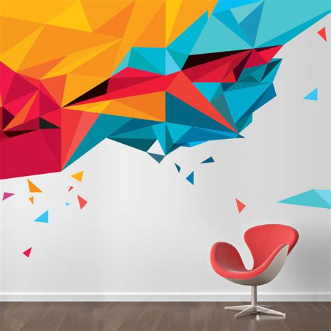 wall graphic design abstract triangles wall transfers environmental Abstract