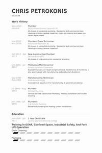 plumber resume samples visualcv resume samples database With plumbing technician resume