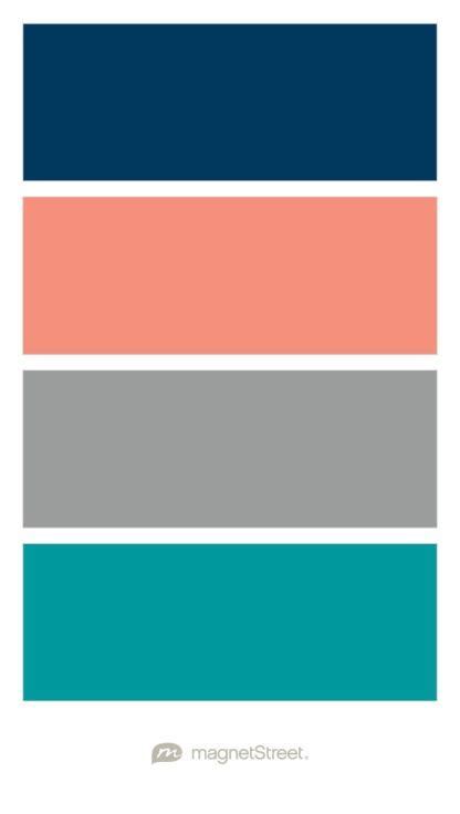 coral color scheme navy coral custom gray and teal wedding color palette