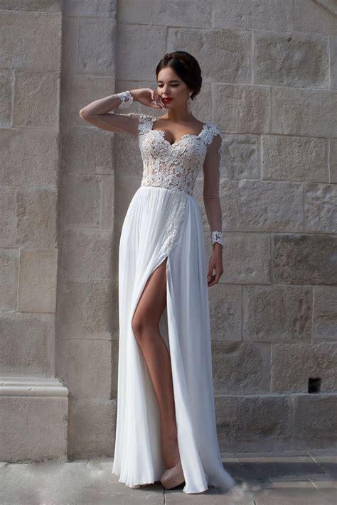 beach wedding dresses simple  long sleeve chiffon