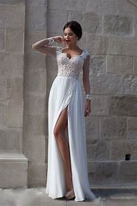 Beach wedding dresses simple 2016 long sleeve chiffon for Long beach wedding dress