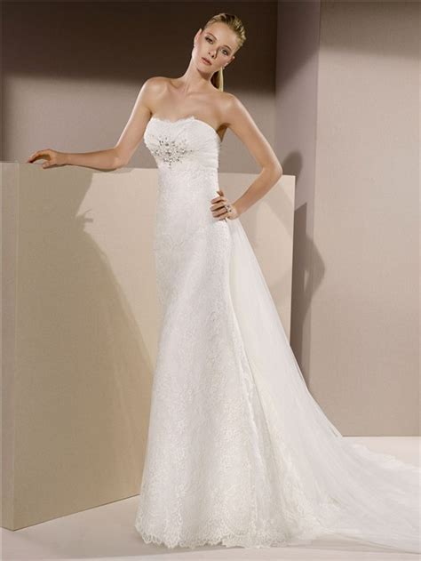 slim fitted strapless lace beaded crystal wedding dress