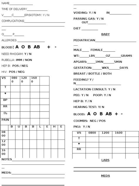 postpartum report sheet