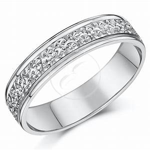 9ct white gold ring diamond cut flat wedding ring band 4mm With flat wedding rings