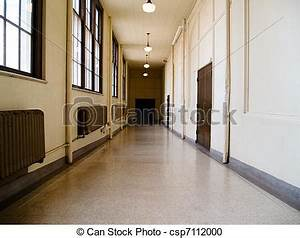Stock Photography of School Hall - Long hallway passage in ...