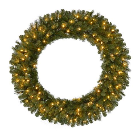 48 in pre lit led wesley pine artificial christmas wreath x 366 tips with 120 plug in indoor