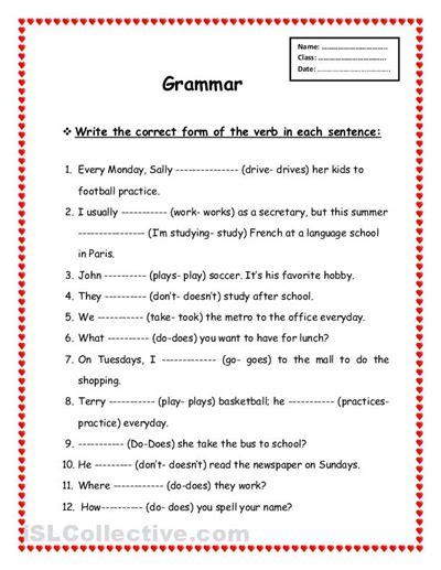 all worksheets 187 primary school grammar worksheets
