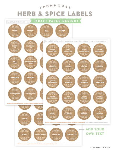 printable farmhouse herb spice labels  printable