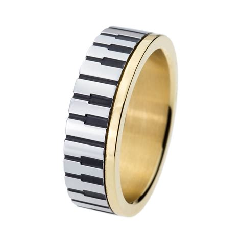 7mm men women 39 gold piano key board ring for music lovers
