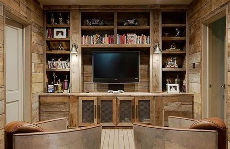 rustic family tv room features  full wall fitted