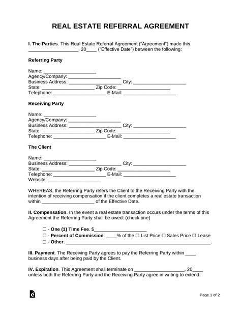 real estate referral agreement  word eforms