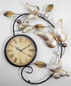Metal Wall Art Butterfly Scroll Wall Clock