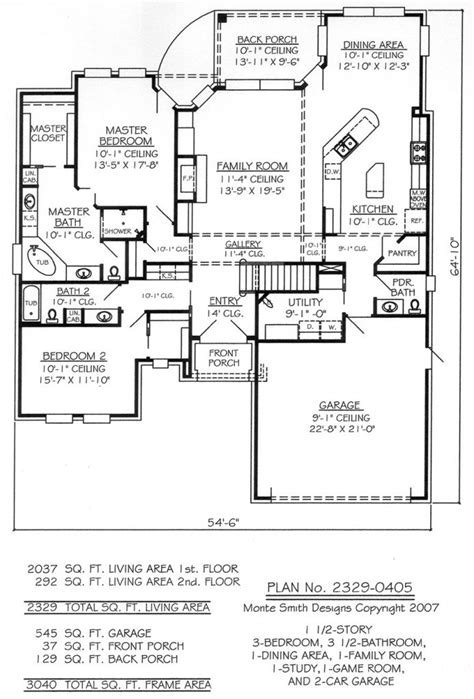 lovely  bedroom  car garage house plans  home plans