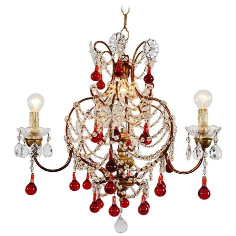 italian murano glass drops chandelier 1950s with four
