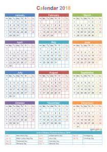 2018 Yearly Calendar Printable PDF