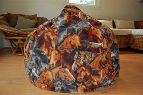 horse theme fleece bean bag chair horse lover white bean
