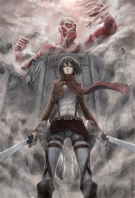 shingeki  kyojin mikasa ackerman colossal titan