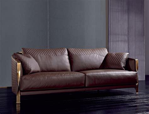 Sofas And Chairs by Nella Vetrina Rugiano 6080 Sofa In Brown Leather
