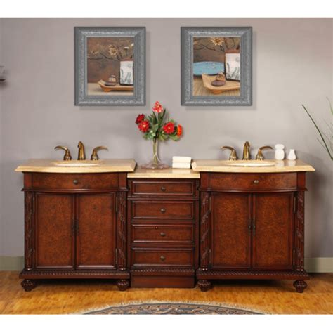 led lighted double sink vanity  travertine