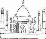 Taj Mahal Coloring Heritage Drawing Site Pages Sketch Netart Hal India Indian Wonders Ma Print Ramadan Visit sketch template