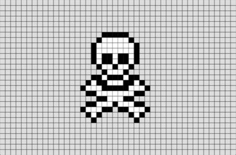 skull cross bones pixel art brik