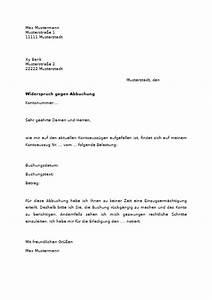 Widerspruch Rechnung Frist : widerspruch gegen abbuchung vom konto muster vorlage zum download ~ Themetempest.com Abrechnung
