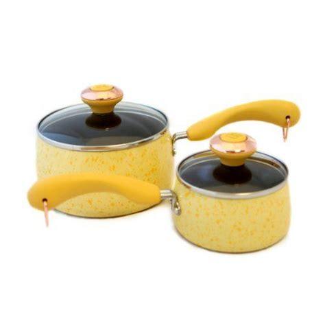 paula deen signature porcelain butter  piece saucepan set  meyer  dimensions qt