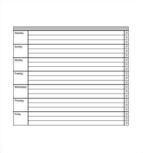 weekly group schedule templates  word excel