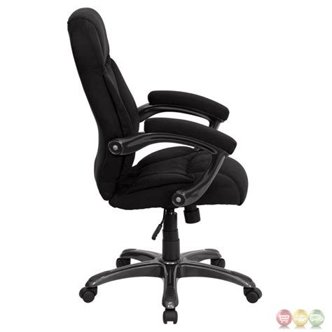 high back black microfiber upholstered contemporary office