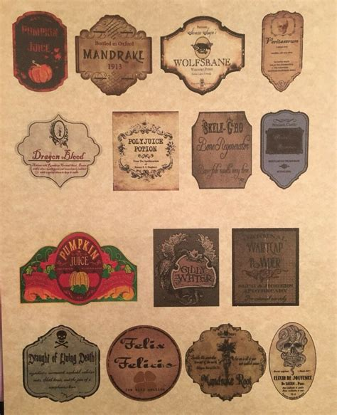 tall labels  small apothecary potion bottles harry