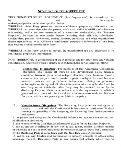 sample business  disclosure agreement